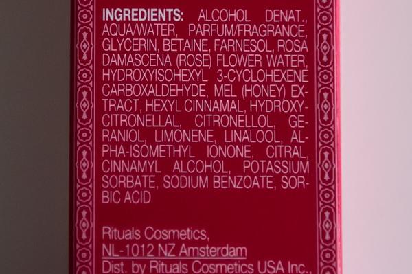 Rituals Ayurveda Chakra Water ingredienten