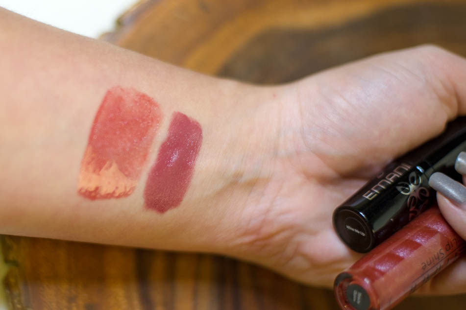 Emani Vegan Cosmetics Lip Shine beauty queen & Hydrating Lip Color Wine me up swatches