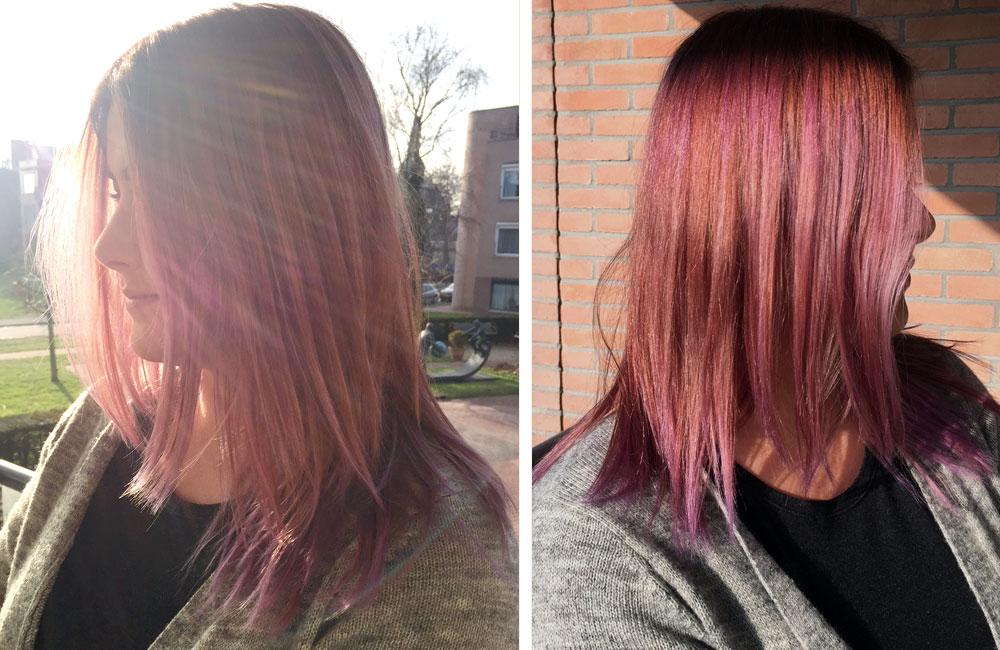 bruin haar pastel lila paars roze verven - pastel haar