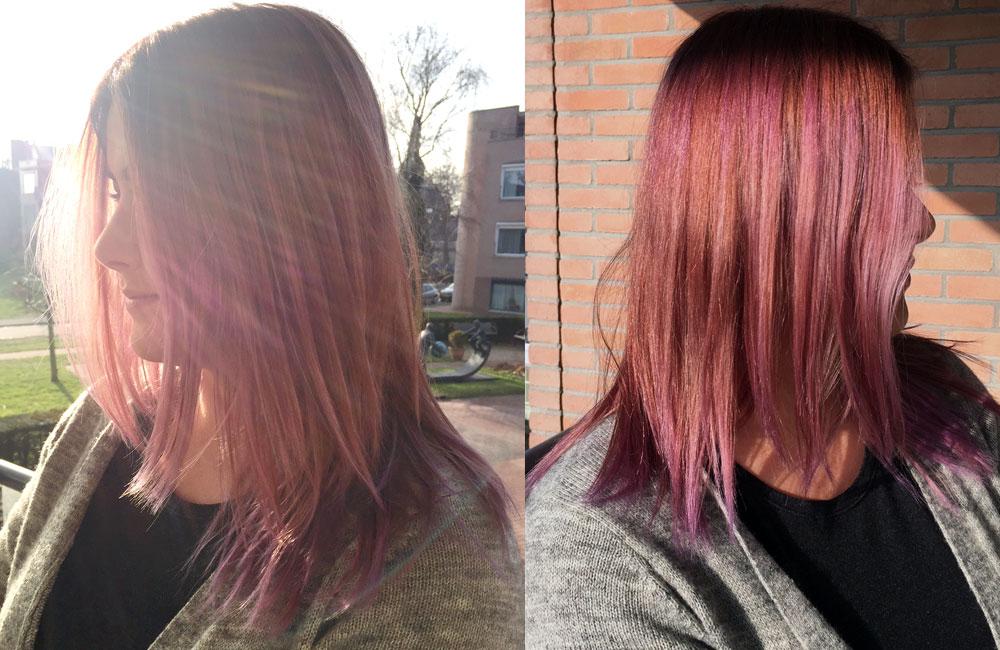 Bruin haar pastel verven paars haar
